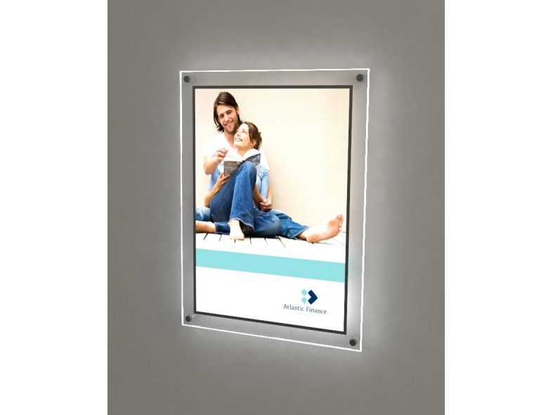 Illuminated poster holders with clear border