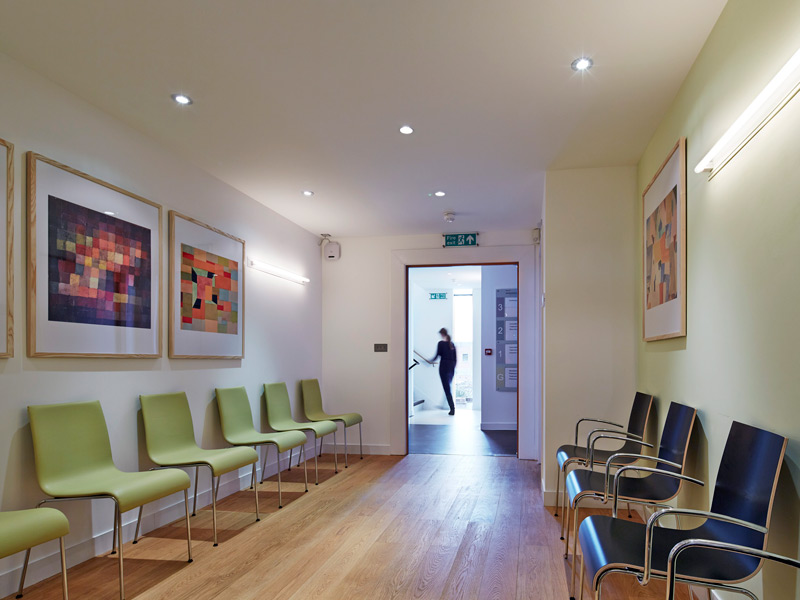 Wokingham medical centre berkshire by barbara weiss architects the patients waiting area malvernweather Image collections
