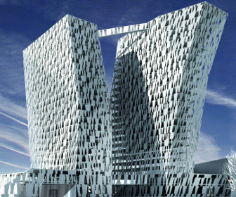 Bella sky hotel with two leaning towers rises above for Design hotel copenhagen