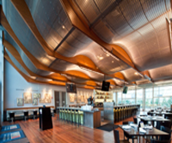 Wonderful Restaurant At National World War II Museum Employs Curved Mesh Ceiling